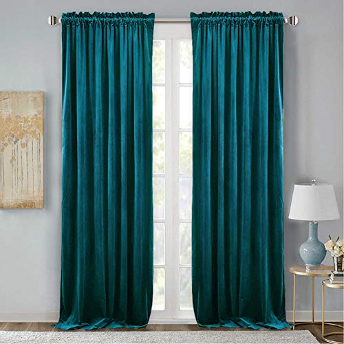 StangH Teal Velvet Curtains Drapes - Velvet Blackout Curtain Panels Vintage Style Christmas Farmhouse Curtains Thermal Insulated Curtains for Sliding Glass Door / Guest Room, 52 x 96-inch, 2 Pcs