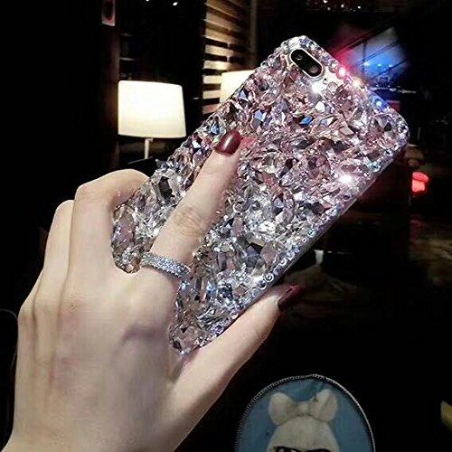 Shinyzone Coque pour iPhone 6 Plus/iPhone 6S Plus,Bling 3D Fait à La Main Brillante Diamant Cristal Strass Gemme Transparente Pare-Chocs Souple Silicone TPU,Rose & Blanc