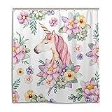 CPYang Duschvorhänge Einhorn Blumenmuster Wasserdicht Schimmelresistent Badvorhang Badezimmer Home Decor 168 x 182 cm mit 12 Haken