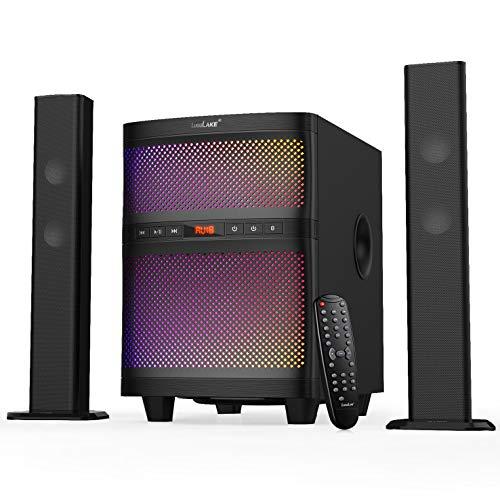 LuguLake Soundbar Speaker System with Subwoofer, Bluetooth, LED Light, FM Radio, USB Reader Supports MP3/WMA Dual Format Decoding - Black