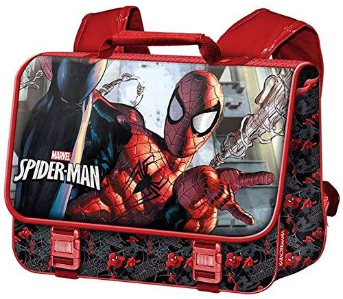 Kit Spiderman Vuelta al Cole - Mochila Cartable Spiderman Dark Marvel + Bolígrafo Marvel + Sandwichera Fiambrera Merendera - Set Escolar