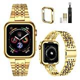 MioHHR Upgraded Version Metal Bands Compatible with Apple Watch band 38/ 40/ 42/ 44mm, Solid Stainless Steel Replacement Wristbands Strap for iWatch SE Series 6/5/4/3/2/1 (Yellow Gold,42/44mm)