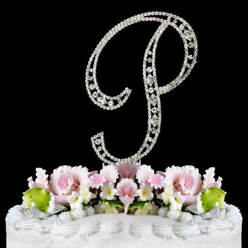 Vintage ~ Swarovski Crystal Wedding Cake Topper ~ Small Letter P