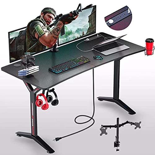 Seven Warrior Gaming Desk 55INCH with Power Outlet & Dual Monitor Mount, Carbon Fiber Surface Computer Gamer Desk with Full Desk Mouse Pad, Ergonomic Y Shaped Gamer Table with Outlet Organizer