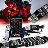 OPT7 Aura Motorcycle LED Accent Lighting Kit, RGB Multi-Color Lights Kit with Remote, Motorcycle Lights Underglow Strips Accessories with Switch for Sportsbike Cruisers, 10pc Double Row