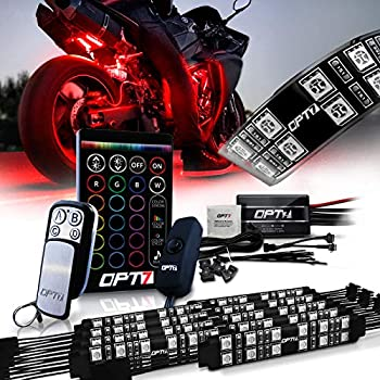 OPT7 Aura Motorcycle LED Accent Lighting Kit RGB Multi-Color Lights Kit with Remote Motorcycle Lights Underglow Strips Accessories with Switch for Sportsbike Cruisers 10pc Double Row