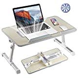 Tormeti Adjustable Laptop Stand Portable Laptop Table with Foldable Legs Notebook Computer Desk for Laptop Reading and Writing Lap Tray for Eating in Bed Sofa Couch Floor, Laptop Table With Cooling Fan pedestal stand fans Feb, 2021