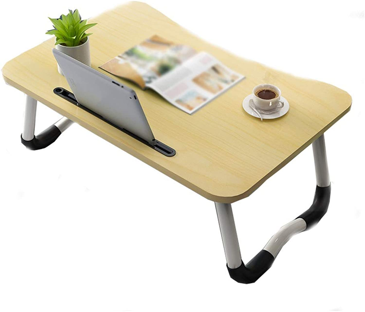 Folding Bed Table, Versatile and Portable, Suitable for Bedroom Living Room On Bedroom Bed (4 colors) (color   Maple color)