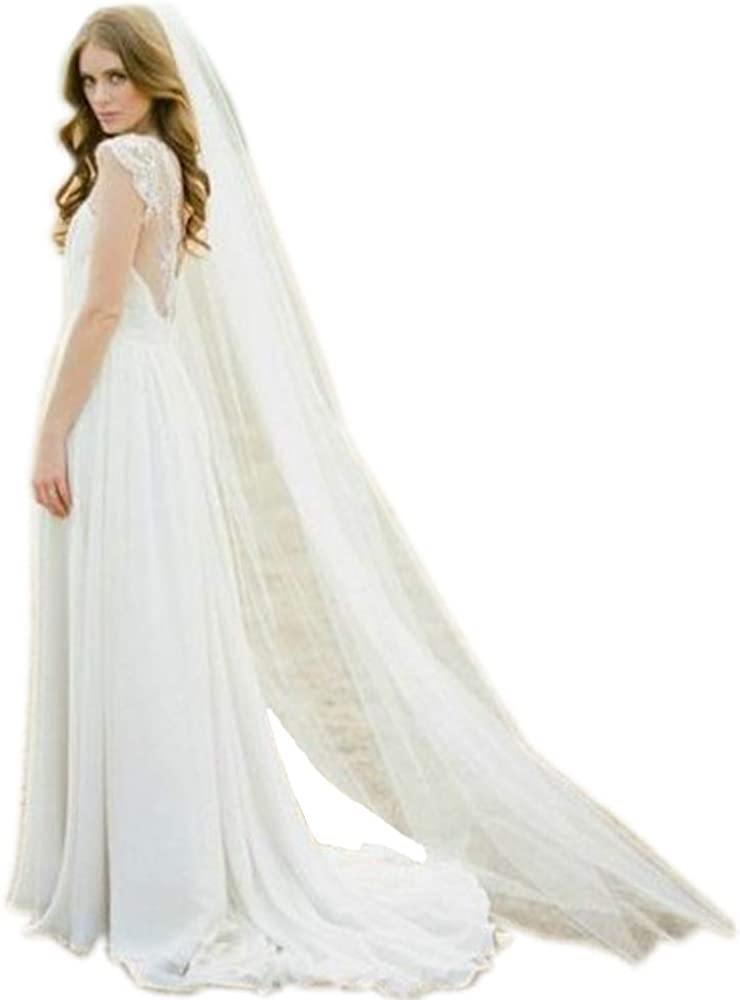 Wedding Bridal Veil Single Layer 3m Cathedral Veil with comb Lianshi