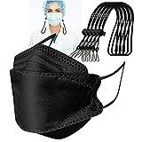 GYZF 100 piezas de pañuelo desechable certificado para adultos de 4 capas de filtro negro - Enviar cuerda de ajuste