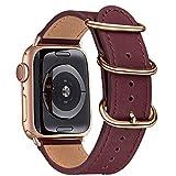 BesBand Armband Kompatibel mit Apple Watch Armband 38mm 40mm 42mm 44mm,Top Leathe Ersatz-Uhren armbänder für das iWatch Band Serie 6/5/4/3/2/1,SE,Edition Frauen Männer(38mm 40mm,Weinrot&Roségold)