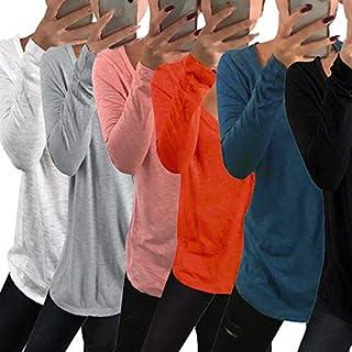 Extaum Casual Women Plus Size T-shirt V-Neck Long Sleeve Solid Large Size Blouse Asymmetry Hem Tee Autumn Long Tops