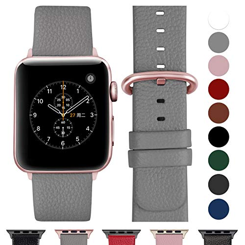 Fullmosa Compatible Watch Strap 38mm 3 Series Leather, for 14 Colors StrapWatch 3 Series, 2 Series, Nike 1 Series + Hermes & Edition, Gray + Rose Gold Buckle, 38mm