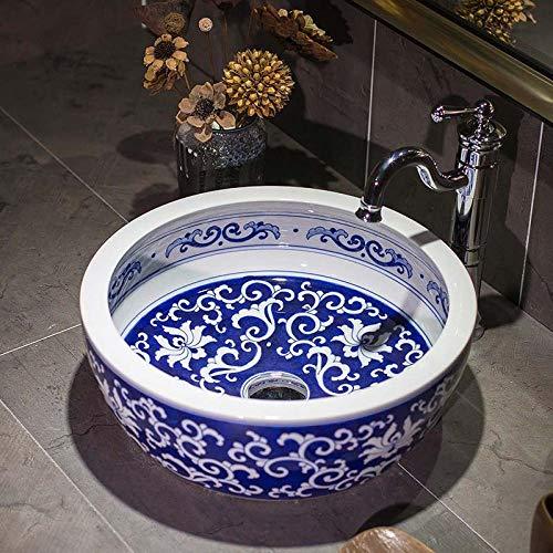 Lavabo de cerámica para encimera, cuenco redondo para lavar a mano, grifo mezclador de frío caliente, para baño, oficina, baño, hotel, cafetería, 41 x 41 x 15 cm
