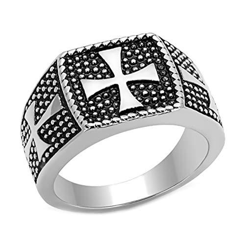 BOBIJOO Jewelry - Bague Chevalière Homme Croix de Malte Templiers Acier Inoxydable 316L Maltese Chevalier - 66 (11 US), Acier Inoxydable 316