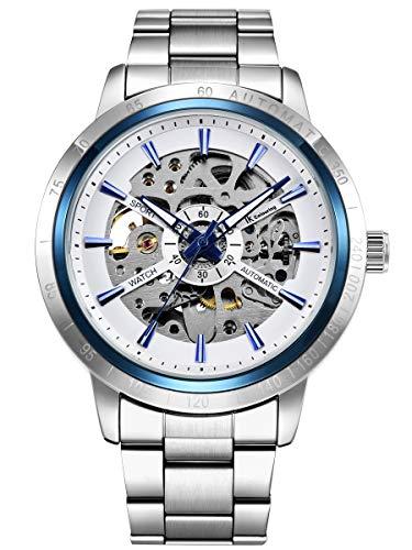 Alienwork Herren Damen mechanische Automatik-Uhr Silber mit Edelstahl Metallarmband blau Skelett