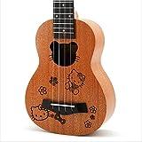 KEPOHK 21'' Ukelele Mahogany Cartoon Carving Pattern Musical Gifts Instrument 4-String Hawaiian Mini Guitar Hello-Kitty