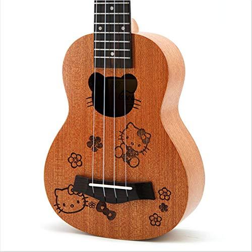 KEPOHK 21 `` Ukelele caoba patrón de talla de dibujos animados instrumento de regalos musicales 4 cuerdas Mini guitarra hawaiana Hello-Kitty