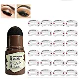 Eyebrow Stamp Waterproof, Brow Stamp Shaping Kit Eyebrow Definer, with 24 Reusable Eyebrow Stencils, Hairline Shadow Powder Stick (Black-brown)