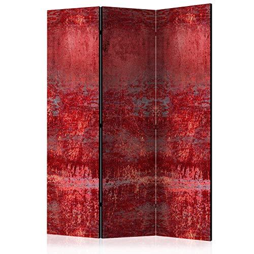 murando Raumteiler Foto Paravent Betonoptik 135x172 cm beidseitig auf Vlies-Leinwand Bedruckt Trennwand Spanische Wand Sichtschutz Raumtrenner Home Office rot f-A-0733-z-b