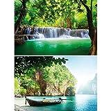 GREAT ART 2er Set XXL Poster Wasserfall & Bucht Wandbild