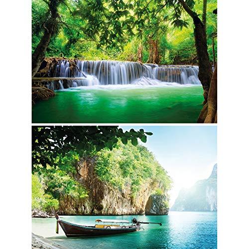 GREAT ART 2er Set XXL Poster Wasserfall & Bucht Wandbild Dekoration Paradies & Natur Set - Bild Wallpaper Foto-Poster Wanddeko Wand-Poster (140 x 100cm)