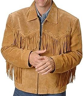coolhides Men's Fringed Cowboy Western Leather Jacket Simple