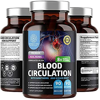 N1N Premium Blood Circulation Supplement [8 Powerful Herbs & Vitamins] All Natural Blood Flow Supplement with Hawthorn Butchers Broom and Cayenne Pepper to Support Circulation & Heart Health 90 Caps