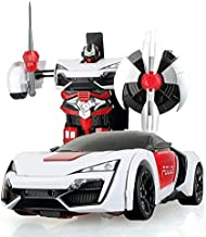 The Flyers Bay One Button Transforming Car into Robot with Cool Dance Features - Police, White