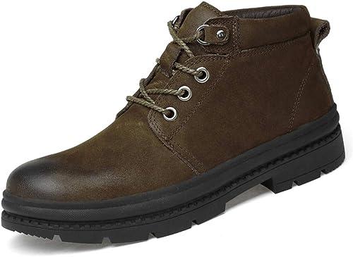 CHENJUAN Chaussures Bottines pour Hommes Décontracté Mode Haut Haut Cravate à Bout Rond avec des Chaussures de Travail extérieures