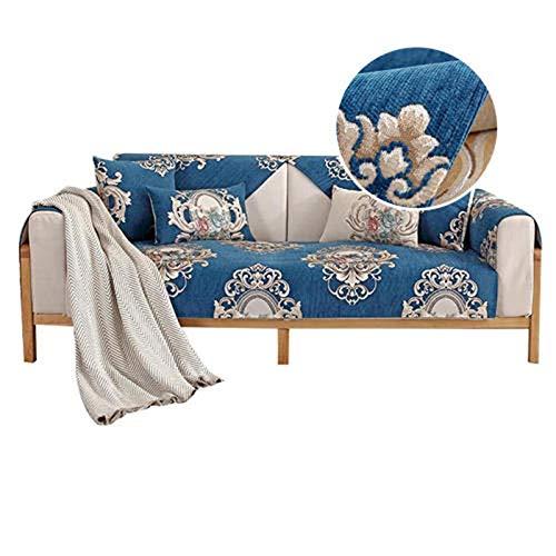 Funda de sofá Antideslizante de Chenilla Jacquard de Alta Gama Fundas de sofá para Sala de Estar Elegante Funda para sofá y sillón Protector de Muebles seccional de Varios tamaños,Azul,80 x 160 cm