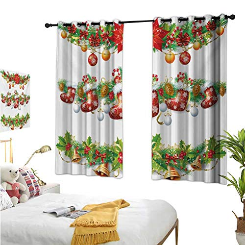 Christmas,Window Decoration Curtains,Traditional Garland Designs with Flowers Socks and Bells Mistletoe Candy Orange Red Green,Isolate Sunlight Dark curtains55x63 Inch