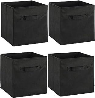 Organisateur de cubes de rangement en tissu pliable avec poignée, panier de rangement de 4 paquets, bacs de rangement plia...