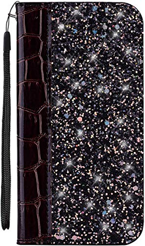 Felfy Kompatibel mit Galaxy J7 Prime Hülle Hülle,Kompatibel mit Galaxy On7 2016 Tasche Glitzer Glänzend Handyhülle Premium PU Leder Brieftasche Schutzhülle Flip Cover mit Kartenfächer,Schwarz