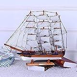 1yess 70 cm DIY Holz Modellschiff Kreative Home Interior Holz Dekorative Accessoires Crafts Mediterraner Stil
