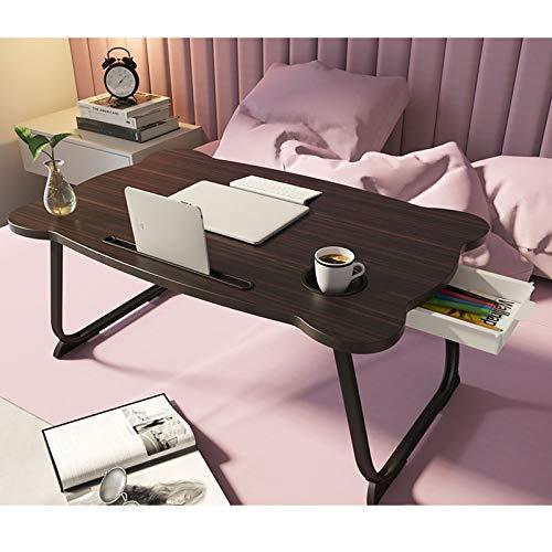 TYOP Mesa de portátil, con cajón, Ranura para Tarjetas y Soporte de Taza, pequeña Mesa Plegable en la Cama, Mesa de Libro Simple del Estudiante, Mesa de Comedor, 60 * 40 * 28 cm (Color : Black)