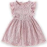Niyage Toddler Girls Elegant Lace Pom Pom Flutter Sleeve Party Princess Dress Dusty Pink 130