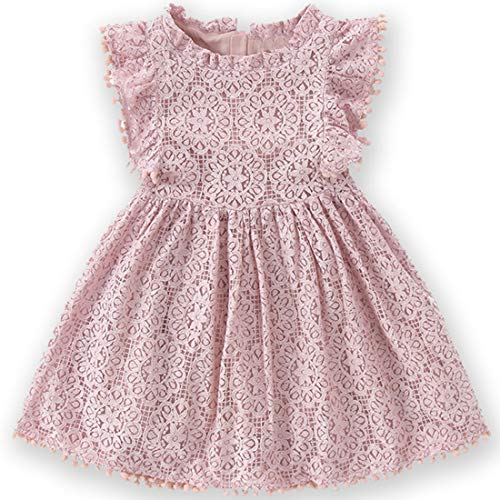 Niyage Toddler Girls Elegant Lace Pom Pom Flutter Sleeve Party Princess Dress