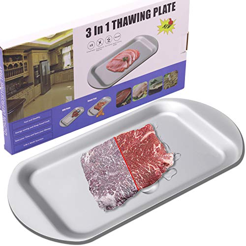 QIZRON Defrosting Tray | Fast Thawing Plate Board for The Safest Way Natural ECO Rapid Thaw Frozen Foods Meat Fish | Premium Quality Defrost Tray with HDF High-Density Aerospace Alloy, Non-Stick
