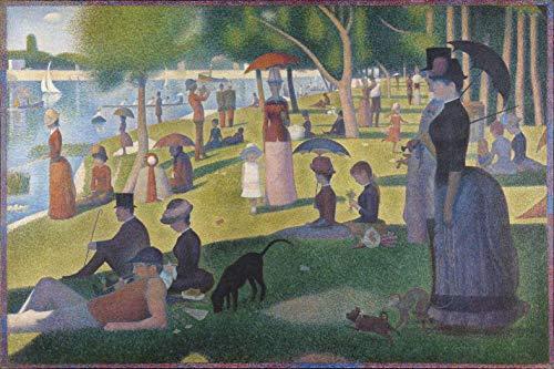 Tarde de Domingo na Ilha de Grande Jatte de Georges Seurat - 60x90 - Tela Canvas Para Quadro