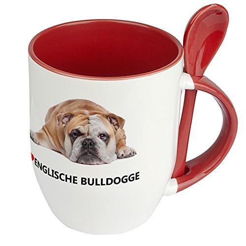 Hundetasse Englische Bulldogge - Löffel-Tasse mit Hundebild Englische Bulldogge - Becher, Kaffeetasse, Kaffeebecher, Mug - Rot