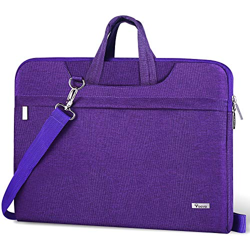 Voova Laptop Bag 14-15.6 Inch, Waterproof Laptop Case Sleeve with Shoulder Starp, Computer Cover Compatible with MacBook Pro 16, Dell XPS 15, Acer Asus Hp Chormebook for women ladies& girls-Purple