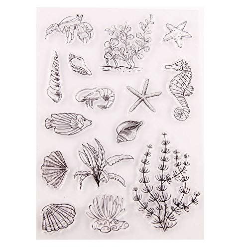 Sea World Shell Starfish Seahorse Seaweed Clear Stamps for Card Making Decoration and DIY Scrapbooking Tools Rubber Stamps