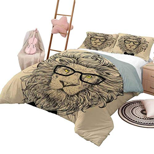 Indie Bedding-Sets Duvet Cover Lion Character Portrait with Glasses and Bowtie Hipster Smart Cool Dandy Duvet Cover Set & Pillowcase Sand Brown Black Yellow King Size