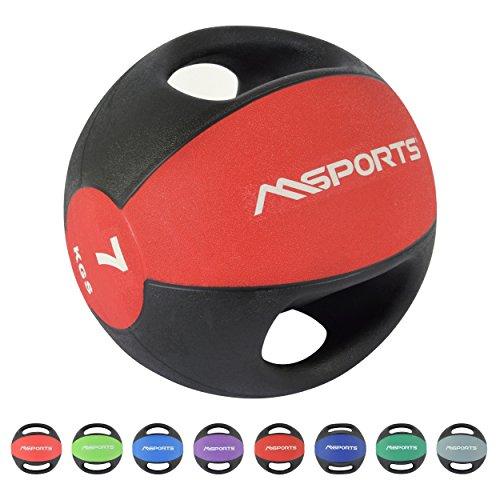 MSPORTS Medizinball Premium mit Griffe 1 – 10 kg – Professionelle Studio-Qualität Gymnastikbälle (7 kg - Rot)