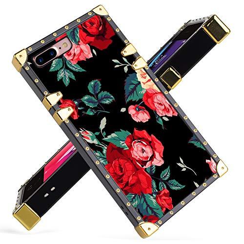 Schutzhülle für iPhone 7 Plus, iPhone 8 Plus, rote Blumen, quadratisch, weiche TPU-Umhüllung & harte Rückseite aus Polycarbonat, stilvoll, klassisch, Retro, 14 cm