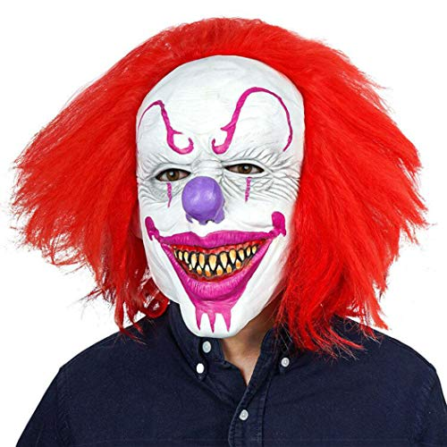 AivaToba Máscara de Payaso de Terror, Máscara de Halloween Latex Máscara de Miedo Espeluznante Mascarilla Cubrecabezas Completa para Adultos Fiesta de Disfraces