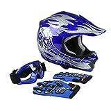 TCT-MT Helmet Motocross Goggles+Gloves DOT Youth Kids Blue Skull Dirt Bike ATV Small