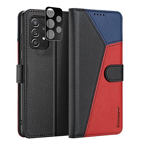 ELESNOW Funda para Samsung Galaxy A52 con [Templado Protector de Lente de cámara], Carcasa Magnética Tarjetero Tapa de Cuero para Samsung Galaxy A52 4G / 5G (Negro/Rojo/Azul)