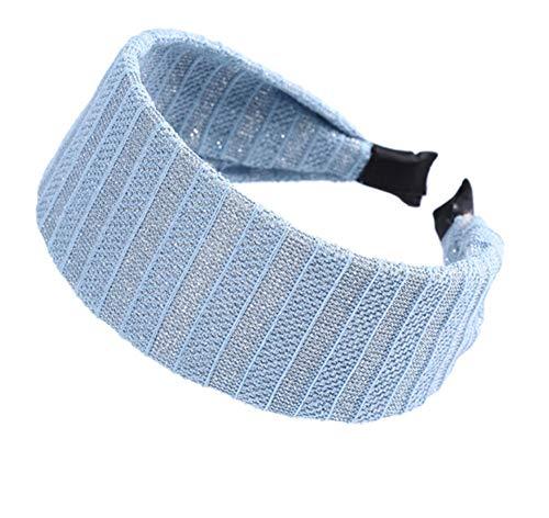 Hlnaughty Gebreide Holle Gestreepte Hoofdband Brede Effen Haarband Haar Sjaal Haarband Hoofdband Hoofddeksels Breedte 5.5Cm Blauw